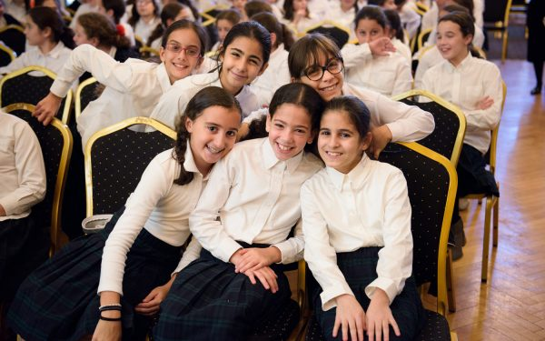 Girls Elementary Division students at a event