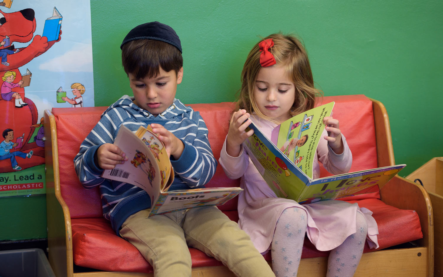 Children from the Preschool Division reading