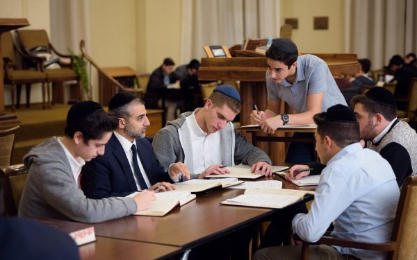 Boys High school Division students learning in the Beis Medrash